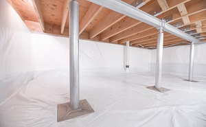 Crawl space structural support jacks installed in Wilkesboro