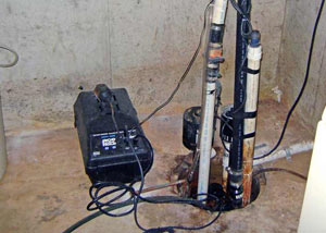 Pedestal sump pump system installed in a home in Boone
